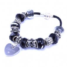 Black Personalised European Style Bracelet with Engraved Heart Charm